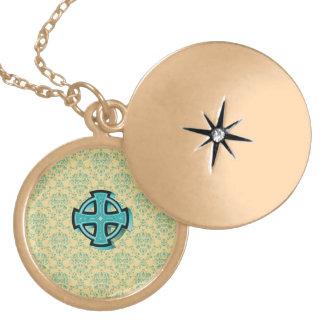 Celtic cross on yellow damask gold finish locket