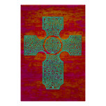 Celtic Cross: Patina on Red Posters