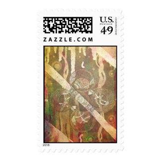 """Celtic Cross Print 1""  Postage Stamp"