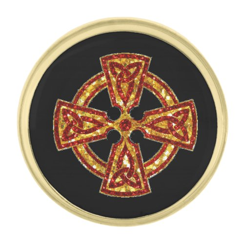 Celtic Cross Red and Gold Gold Finish Lapel Pin