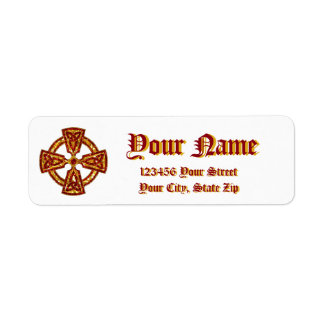 Celtic Cross Red and Gold Label