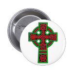 Celtic Cross red and green Pinback Button