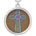 Celtic Cross Silver Plate Necklace Brown Hues