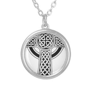 Celtic cross silver plated necklace