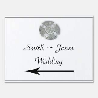 Celtic Cross Silver White Wedding Direction Sign