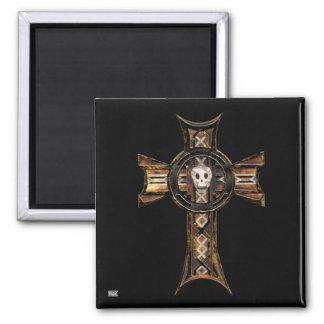 Celtic Cross & Skull (Gold) 2 Inch Square Magnet