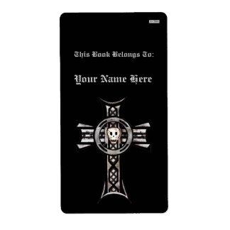 Celtic Cross & Skull (Silver) (Bookplate) Label
