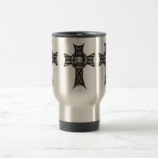 Celtic Cross & Skull (Silver) Travel Mug