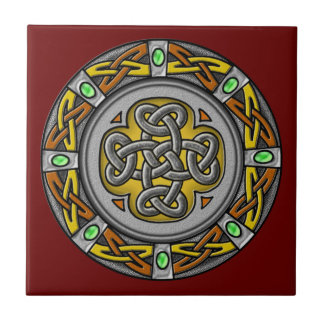 Celtic cross steel and leather ceramic tile