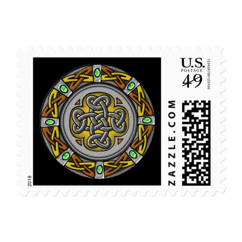 Celtic cross steel and leather postage