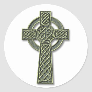 Celtic Cross - stone Classic Round Sticker