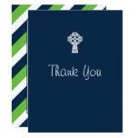 Celtic Cross Thank You Card - Boy Baptism Blue