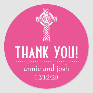 Celtic Cross Thank You Labels (Dark Pink / White) Classic Round Sticker