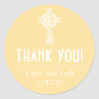 Celtic Cross Thank You Labels (Gold / White) Classic Round Sticker