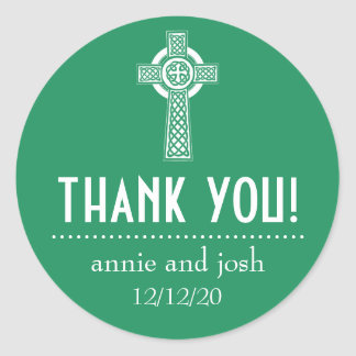 Celtic Cross Thank You Labels (Green / White) Classic Round Sticker