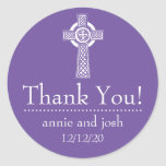 Celtic Cross Thank You Labels (Plum / White) Classic Round Sticker