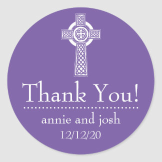 Celtic Cross Thank You Labels (Plum / White) Round Stickers