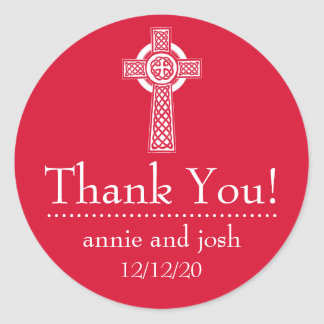 Celtic Cross Thank You Labels (Red / White) Classic Round Sticker