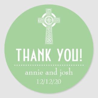 Celtic Cross Thank You Labels (Sage Green / White) Round Sticker