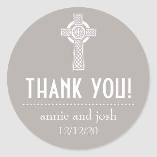Celtic Cross Thank You Labels (Sand / White) Classic Round Sticker