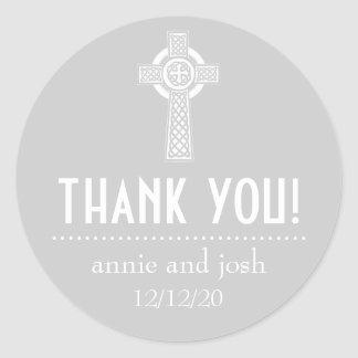 Celtic Cross Thank You Labels (Silver / White) Classic Round Sticker