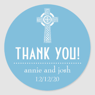 Celtic Cross Thank You Labels (Sky Blue / White) Classic Round Sticker