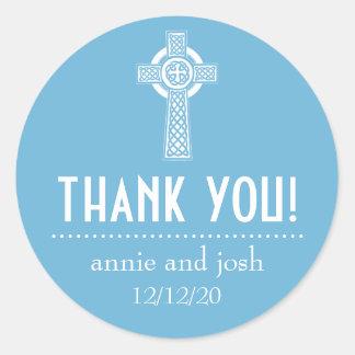 Celtic Cross Thank You Labels (Sky Blue / White) Sticker