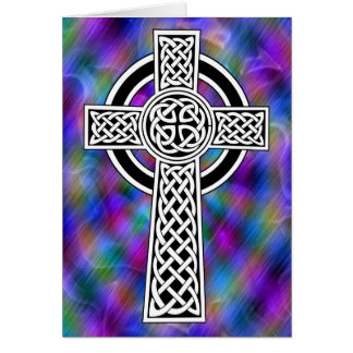 celtic cross wave greeting card