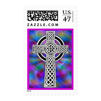 celtic cross wave postage stamp