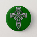 Celtic Cross white and clear Button