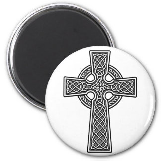 Celtic Cross white and grey 2 Inch Round Magnet