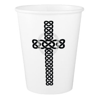 Celtic Cross White Paper Cup