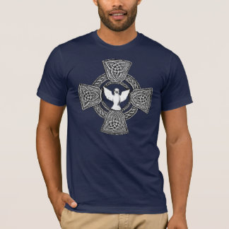 Celtic Cross with Dove in Center black and white T-Shirt