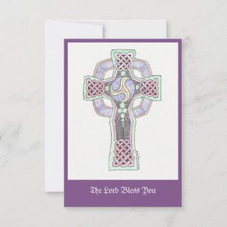 Celtic cross with greeting thank you card
