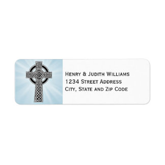 Celtic Cross with Rays of Light Label