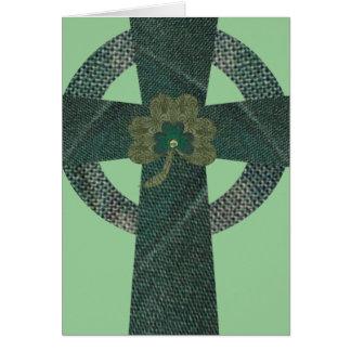Celtic Cross with Shamrock Card