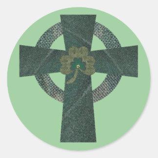 Celtic Cross with Shamrock Classic Round Sticker