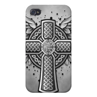 Celtic Cross With Wings (black & grey) Cases For iPhone 4