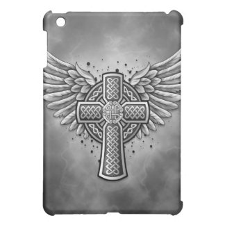 Celtic Cross With Wings (black & grey) iPad Mini Case