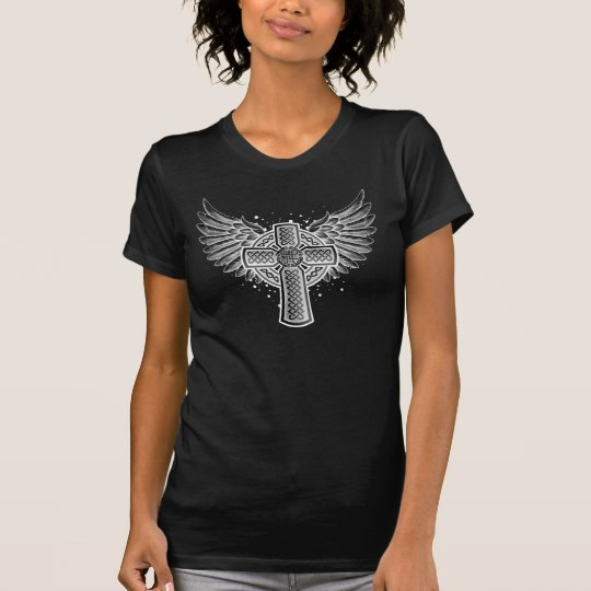 Celtic Cross With Wings (inverted white) T-Shirt
