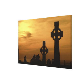 Celtic crosses at dusk, County Clare, Republic Canvas Print