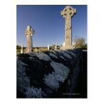 Celtic crosses in a graveyard, Davacliff, Postcard