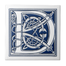 Celtic D Monogram Ceramic Tile