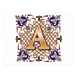 Celtic Design Letter A Postcard