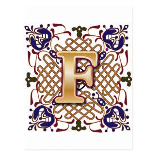 Celtic Design Letter F Postcard