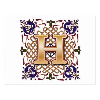 Celtic Design Letter H Postcard