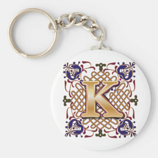 Celtic Design Letter K Basic Round Button Keychain