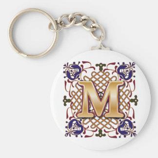 Celtic Design Letter M Basic Round Button Keychain