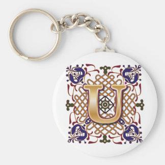 Celtic Design Letter U Basic Round Button Keychain
