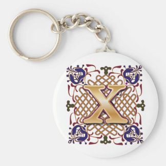 Celtic Design Letter X Basic Round Button Keychain